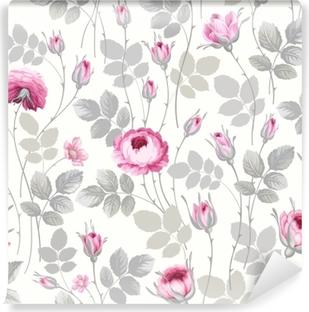 Selbstklebende Fototapete Nahtloses Blumenmuster mit Rosen in Pastellfarben