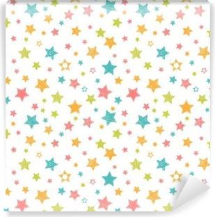 Selbstklebende Fototapete Nette nahtlose Muster mit Sternen. Stilvolle Druck mit der Hand gezeichnet