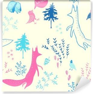 Selbstklebende Fototapete Nette Tiere im Wald. Nahtlose Muster. Hand gezeichnete Illustration mit Fuchs, Hase, Vögel und floralen Elementen. Natürliches Design-Vektor-Hintergrund.