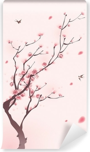 Selbstklebende Fototapete Orientalischen Stil Malerei, Kirschblüte im Frühjahr