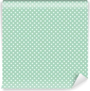 Selbstklebende Fototapete Polka Dots auf frischer Minze Hintergrund nahtlose Vektor-Muster