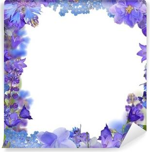 Selbstklebende Fototapete Rahmen fronm blauen Blüten auf weißem
