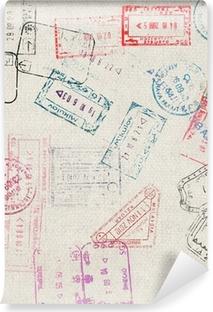 Selbstklebende Fototapete Reisen Hintergrund mit verschiedenen Pass Briefmarken