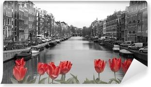 Selbstklebende Fototapete Rote Tulpen in Amsterdam