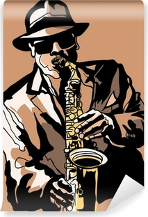 Selbstklebende Fototapete Saxophone player