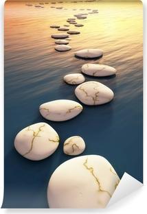 Selbstklebende Fototapete Schritt stones sunset
