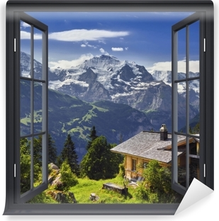 Selbstklebende Fototapete Schwarz-Fenster geöffnet - Berg