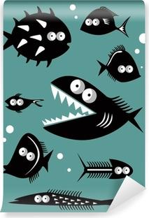 Selbstklebende Fototapete Set von lustigen Fische