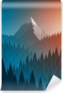 Selbstklebende Fototapete Snowy Berg Gipfel und Wald
