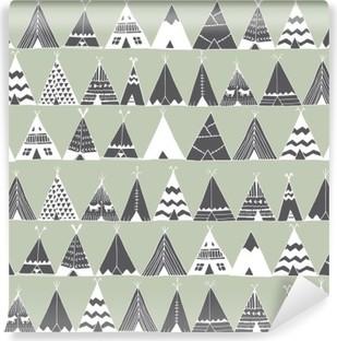 Selbstklebende Fototapete Teepee native american Sommerzelt Illustration.