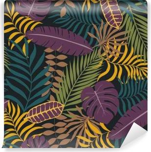 Selbstklebende Fototapete Tropischer Hintergrund mit Palmblättern. Nahtloses Blumenmuster