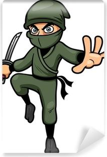 Selbstklebende Fototapete Vektor-Illustration von Cartoon Ninja
