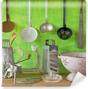 Selbstklebende Fototapete Verschiedenen Vintage Küchenutensilien