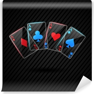 Selbstklebende Fototapete Vier Glas Poker-Asse Spielkarten Illustration transparent