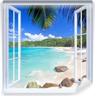 Selbstklebende Fototapete Weiß offenes Fenster - Tropical