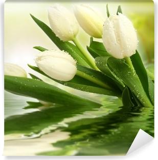 Selbstklebende Fototapete Weiße tulpen
