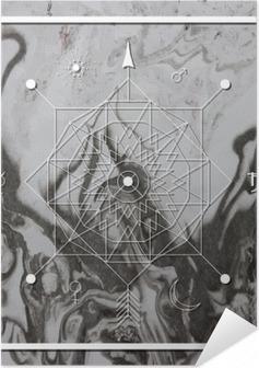 Selbstklebendes Poster Abstrakte mystische Geometrie, lineare Alchimie, geheimnisvoll, philosophisch Zeichen.