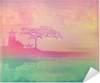 Selbstklebendes Poster Altes Papier mit asiatischen Landschaft