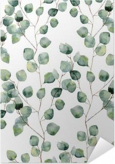 Selbstklebendes Poster Aquarell grün floral nahtlose Muster mit Eukalyptus runden Blättern. Hand bemalt Muster mit Zweigen und Blättern von Silber-Dollar Eukalyptus isoliert auf weißem Hintergrund. Für Design oder Hintergrund