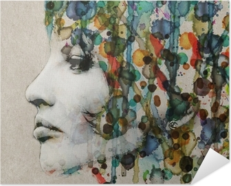 Selbstklebendes Poster Aquarell weibliches Profil