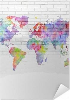 Selbstklebendes Poster Aquarell Weltkarte auf einer Backsteinmauer