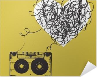 Selbstklebendes Poster Audiocassette mit verschlungenen Band. Haert geformt