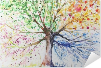 Selbstklebendes Poster Baum in den vier Jahreszeiten