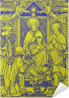 Selbstklebendes Poster BRATISLAVA, SLOWAKEI, - 21. November 2016: Die Lithographie von Heiligen Drei Könige in Missale Romanum von einem unbekannten Künstler mit den Initialen FMS von Ende 19. Jh. und gedruckt von Typis Friderici Pustet.