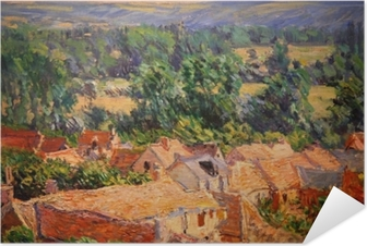 Selbstklebendes Poster Claude Monet - Blick auf Dorf Giverny