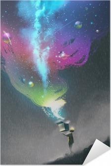Selbstklebendes Poster Das Kind ein Fantasy-Box mit bunten Licht und fantastische Raumöffnung, Illustration,