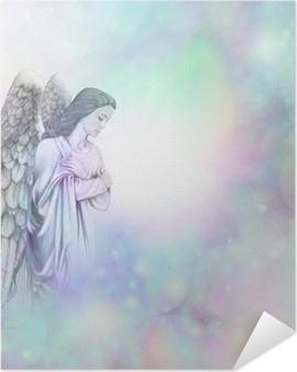 Selbstklebendes Poster Engel auf weichen Bokeh nebligen Rahmen Hintergrund