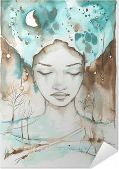 Selbstklebendes Poster Fabelhaftes Beispiel für eine abstrakte Porträt eines Mädchens.