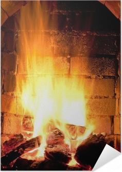 Selbstklebendes Poster Feuer im Kamin