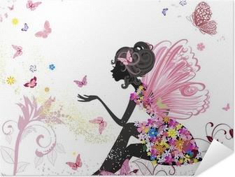Selbstklebendes Poster Flower Fairy in der Umgebung von Schmetterlingen