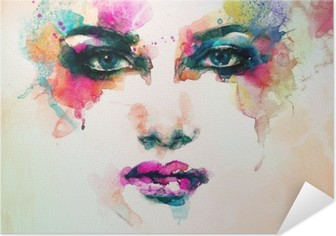 Selbstklebendes Poster Frau Porträt. abstraktes Aquarell. Mode Hintergrund