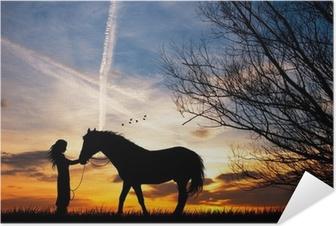 Selbstklebendes Poster Frau und Pferd