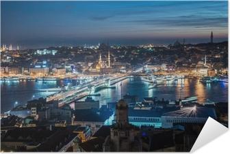 Selbstklebendes Poster Galata-Brücke in Istanbul Bosphorus Nacht