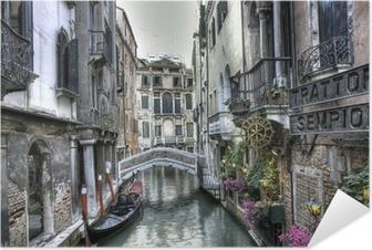 Selbstklebendes Poster Gondel, Palazzi und Bruecke, Venedig, Italien