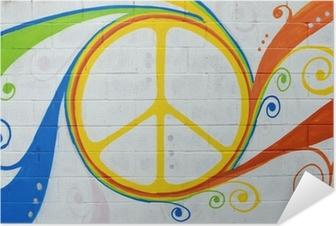 Selbstklebendes Poster Graffiti Hippie-Symbol.