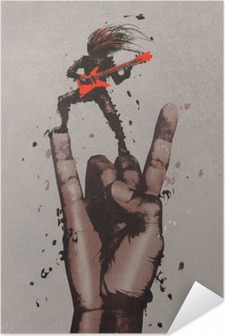Selbstklebendes Poster Große Hand in Rock n Roll-Zeichen mit dem Gitarristen, Illustration,