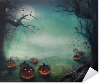 Selbstklebendes Poster Halloween-Design - Forest Kürbisse