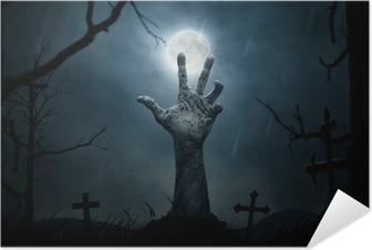 Selbstklebendes Poster Halloween, toten Hand, die sich aus dem Boden
