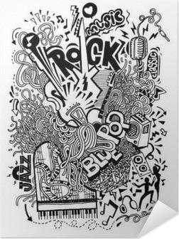 Selbstklebendes Poster Handzeichnung Gekritzel, Collage mit Musikinstrumenten
