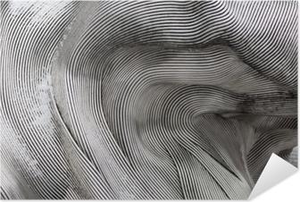 Selbstklebendes Poster Hintergrundtextur der glänzenden Metalloberfläche. Die gebogene Platte besteht aus Eisen.