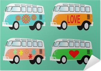 Selbstklebendes Poster Hippie van Volkswagen T1 Camper Vektor