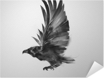 Selbstklebendes Poster Isoliert grafisch fliegenden Vogel schwarze Krähe