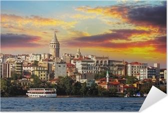 Selbstklebendes Poster Istanbul bei Sonnenuntergang - Galata Bezirk, Türkei