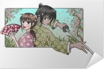 Selbstklebendes Poster Japanerin und stolz Samurai - Sakura Hintergrund