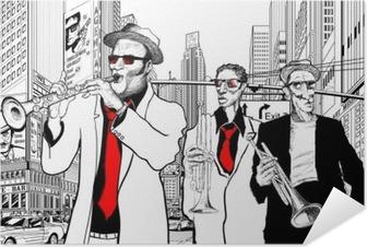 Selbstklebendes Poster Jazz-Band in einer Straße von New York