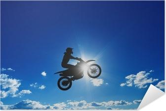 Selbstklebendes Poster Jumping Motorradfahrer